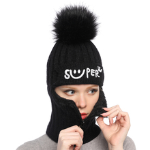 Winter New Knitted Hat  Lady Wool Cap Mask Heating and Thickening of Cycling Neck Cap 2018 savior safety health battery heating cap winter heating cap bicycle riding elderly