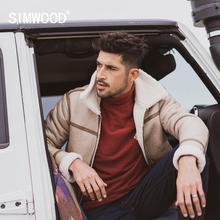 SIMWOOD 2020 Winter New Berber Fleece Coats Men Shearling Aviator Jacket Warm Parkas Suede High Quality Plus size Coats  SI98077