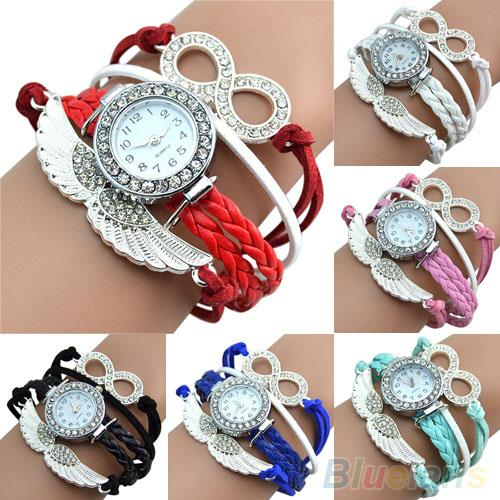 Women's Infinity Charm Rhinestone Faux Leather Angel's-Wing Bangle Bracelet Wrist Watch Lovers Watch Female Женские часы  커플 시계