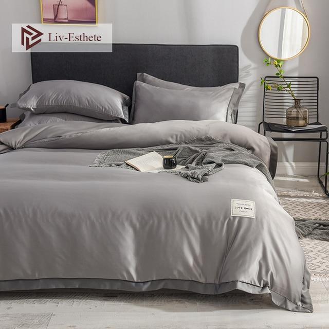 Liv-Esthete Luxury Silk Gray Bedding Set Love Home Silky Duvet Cover Flat Sheet Bed Linen Set Double Queen King Bedclothes 1