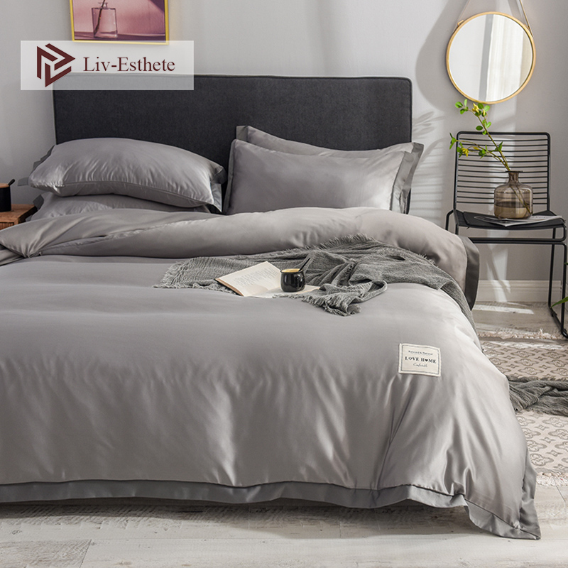 Liv-Esthete Luxury 100% Silk Gray Bedding Set Love Home Silky Duvet Cover Flat Sheet Bed Linen Set Double Queen King Bedclothes