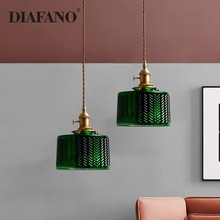 Copper Glass Suspension Led pendant Lamp for Dining room Foyer Bed side Apartment Nordic Green Pendant Light LED Hanging Lamp