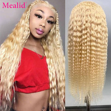 Mealid Lace Front Human Hair Wigs With Baby Hair 150% Glueless 613 Blonde Remy Brazilian Kinky Curly 13x4 Lace Front Wigs
