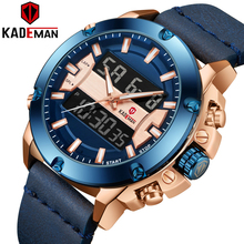 цены KADEMAN Military Sport Men Luxury Brand LED Quartz Watches Casual Leather Wrist Male Waterproof Digital Clock Relogio Masculino
