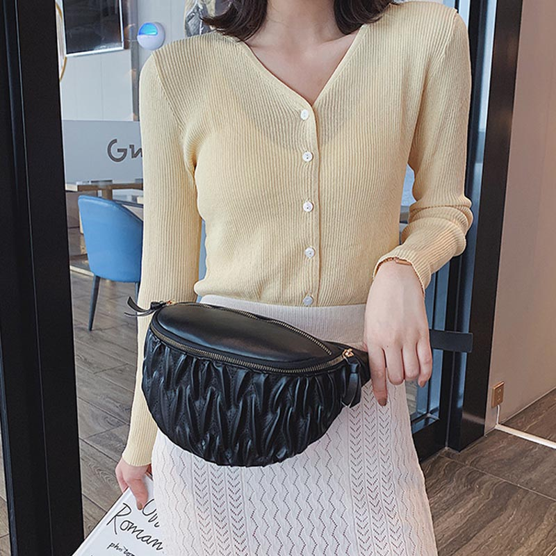 Women's Belt Bag PU Leahter Pleated Fanny Pack Female Waist Bags Waterproof Banana Chest Bags High Quality Hip Bag Bum Purse