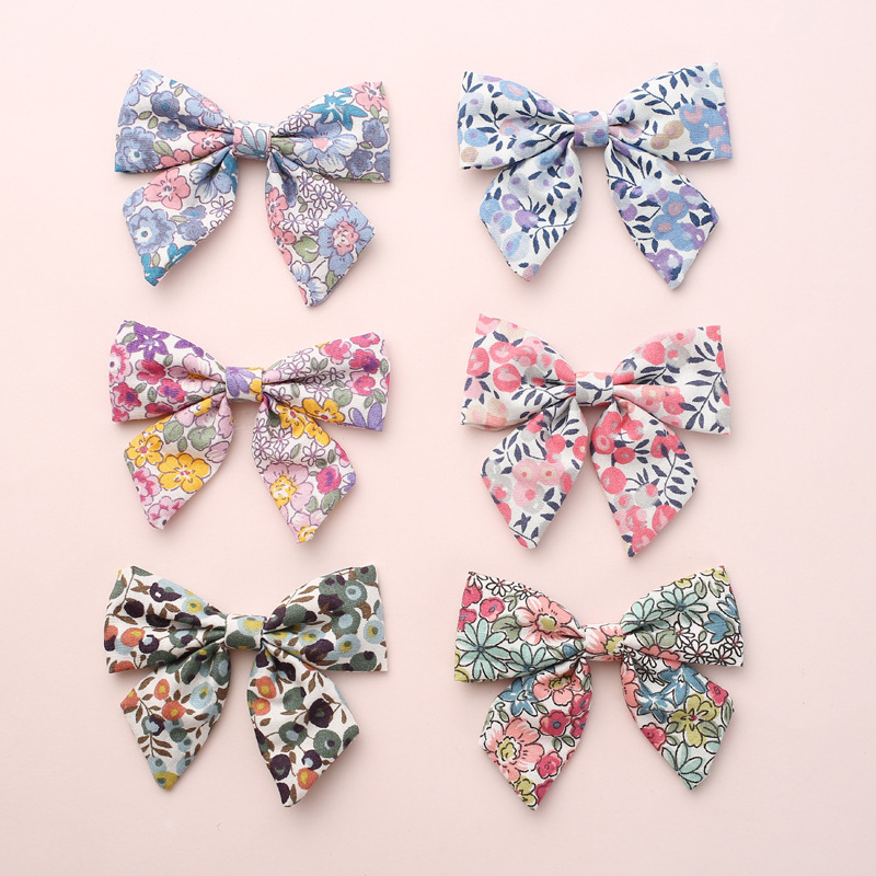 2Pcs Baby Kids Girl Flower Floral Print Bow BB Hair Clip Children Cotton Hairpin