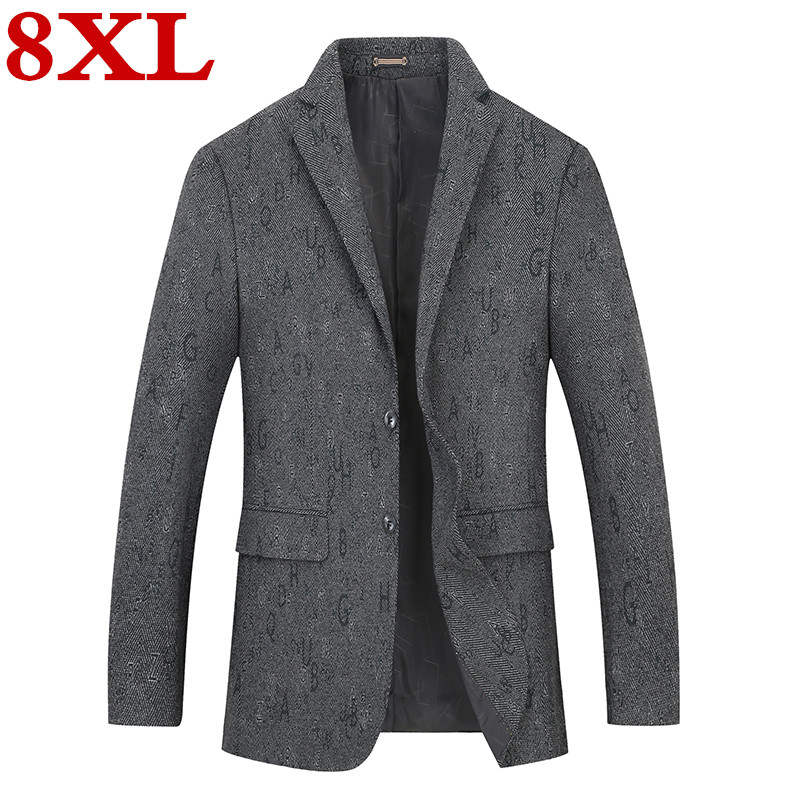 New Plus Size 8XL 7XL 6XL 5XL Fashion Blazer Mens Casual Jacket Solid Color Cotton Men Blazer Jacket Men Classic Mens Suit Coats