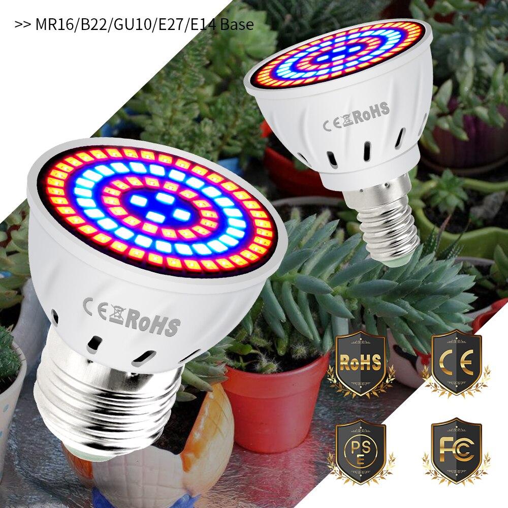 MR16 Growing LED Plant Lamp For Indoor Grow Light E27 Full Spectrum LED Greenhouse Bulb E14 Phyto Lamp 220V GU10 48 60 80led B22