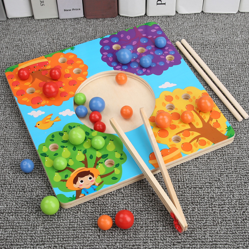 Children'S Educational Toy Kindergarten Chopsticks Jia Zhu Clip Ball Color Game 3-6-Year-Old Wooden Parent And Child Interactive