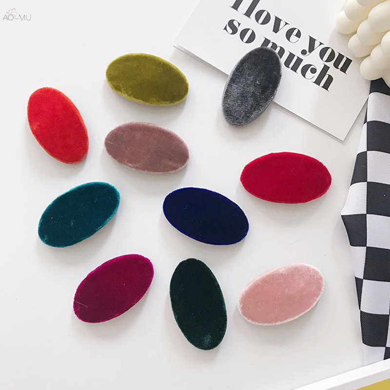 AOMU 1PC Korea Fashion Autumn Winter Velvet Hairpins Geometric Oval Solid Color Hair Clips For Women Girls Hair Accessories