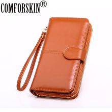 COMFORSKIN Women Wallet Female Purse Leather Large Capacity With  Wristlet Lady Clutch High Quality