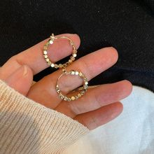 2020 винтажные золотистые металлические серьги кольца с шариками