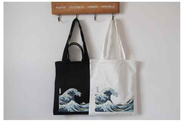 Giappone onda divertente della stampa di grande capacità borsa di tela del sacchetto di spalla femminile Harajuku lettera Del Fumetto Ulzzang sacchetto del Messaggero della borsa