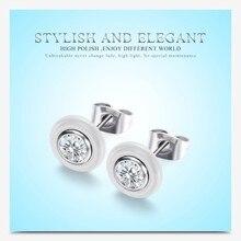 цена на Titanium Steel White Earrings Black White Ceramic Smooth Surface Inlaid Big Zircon Stud Earrings Men Women Jewelry