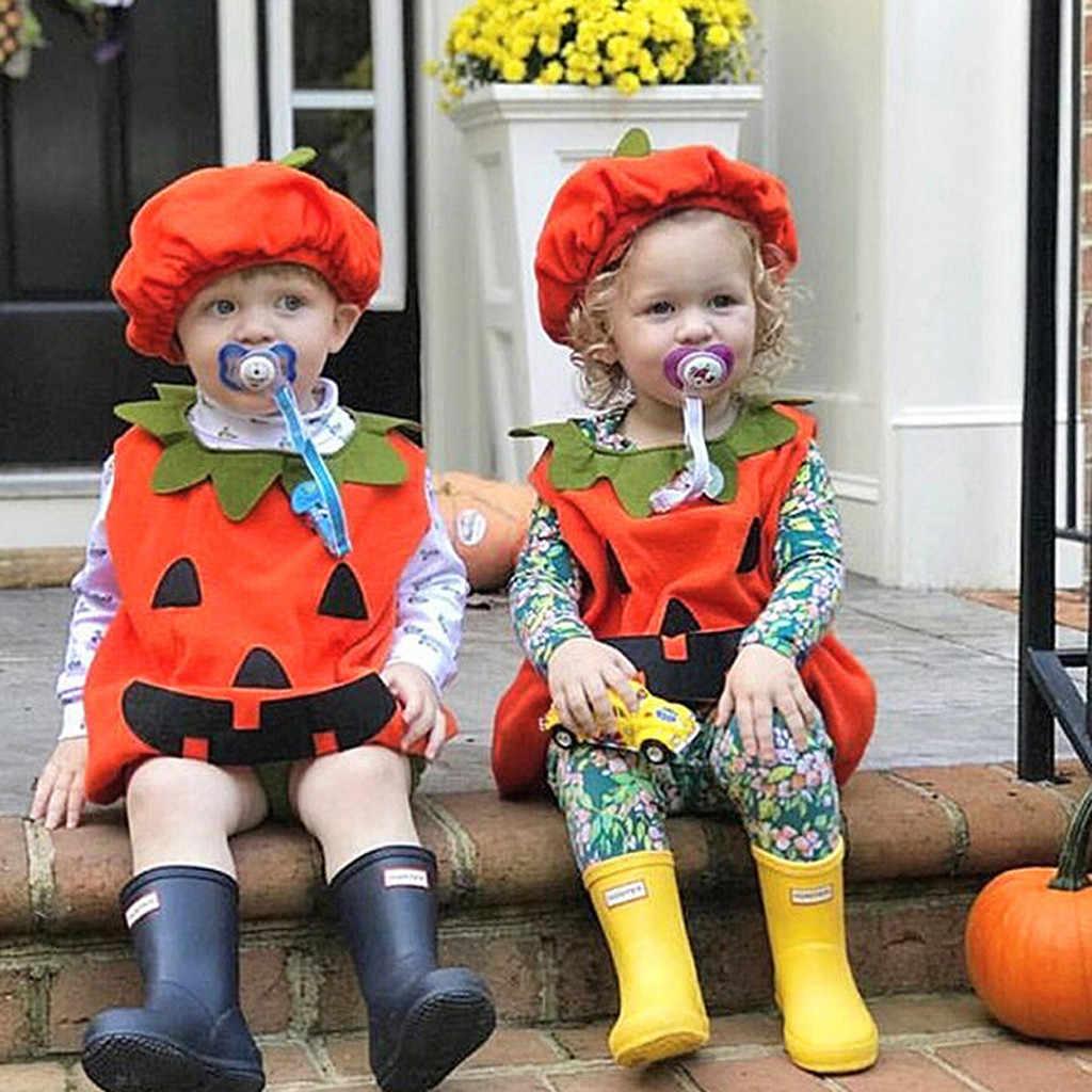 Toddler Infant Baby Boy Girl Pumpkin Vest Tops Hat Halloween Outfits Costume Set