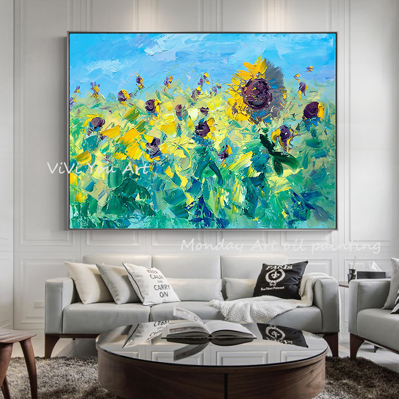 100-Hand-Painted-Abstract-Sunflowers-Art-Painting-On-Canvas-Wall-Art-Wall-Adornment-Pictures-Painting-For (1)
