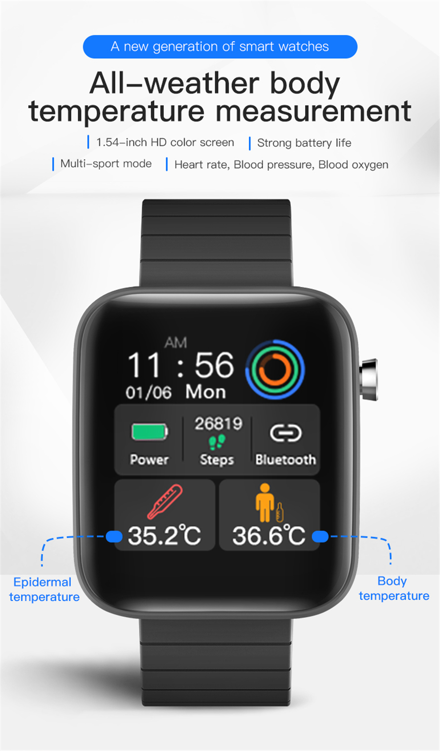 H2d0843f63dad4282bcaba8b904ad08e3y T68 Men Women Smart Watch with Body Temperature Measure Sports Fitness Watch Heart Rate Blood Pressure Oxygen Monitor Smartwatch