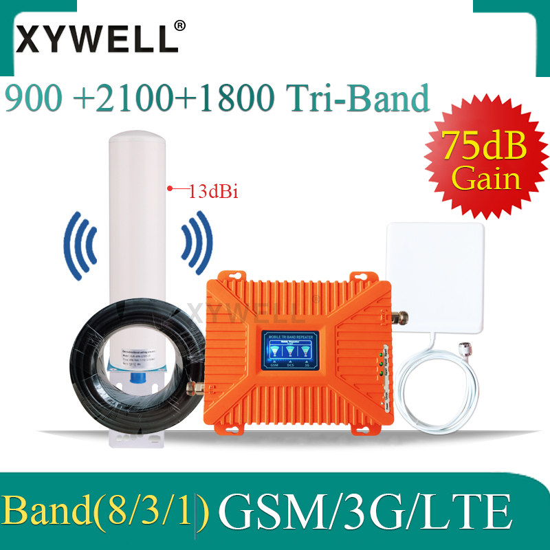 4G Repeater Cellular Amplifier 900 1800 2100 Gsm Repeater 2g 3g 4g Tri-Band Mobile Signal Booster Omnidirectional 4G Antenna