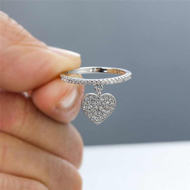 Cute Heart Pendant White Zircon Rings For Women Yellow Gold/White Gold/Rose Gold Engagement Promise Ring Female Wedding Jewelry 1