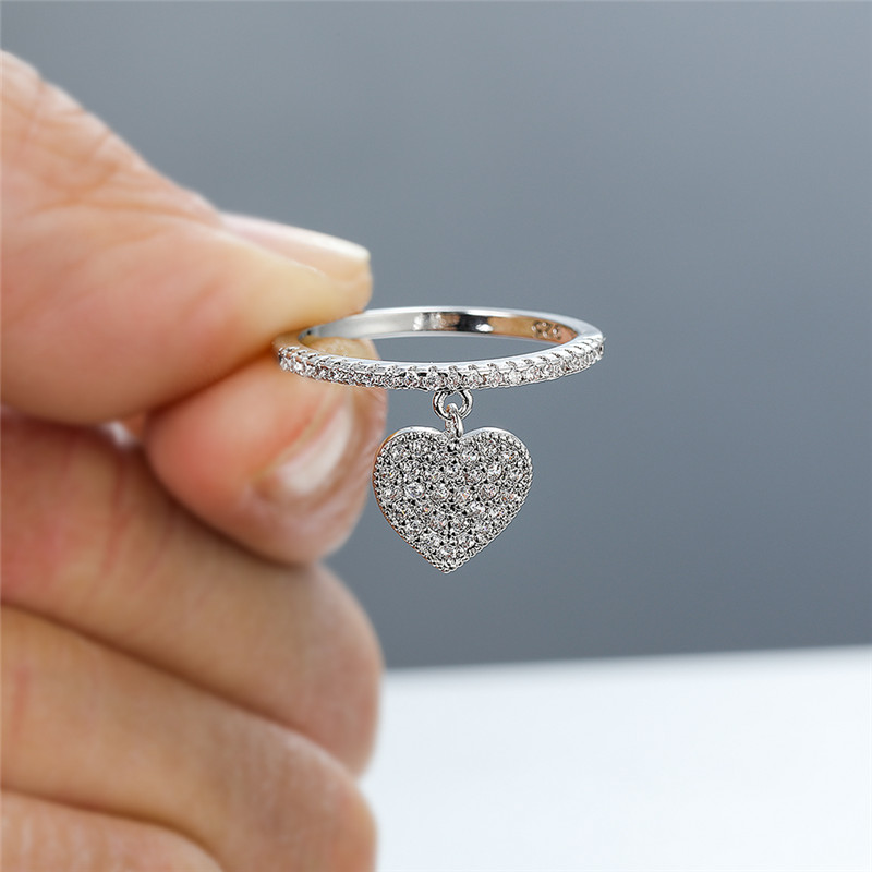 Cute Heart Pendant White Zircon Rings For Women Yellow Gold/White Gold/Rose Gold Engagement Promise Ring Female Wedding Jewelry