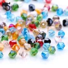 Perles en cristal autrichiennes Bicone pour la fabrication de bijoux, accessoires multicolores, à facettes, vente en gros, 3 4 6mm
