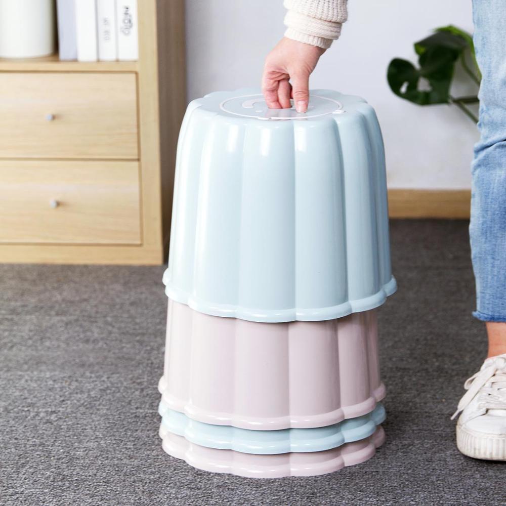 Round Cartoon Storage Kids Stool Home Living Room Adult Shoe Bench Children Plastic Pad Small Bench Stool