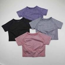 Camiseta de Yoga Vital sin costuras de Color sólido para mujer, Top corto de manga corta para Fitness, Tops de entrenamiento, ropa deportiva para gimnasio, camisetas para correr