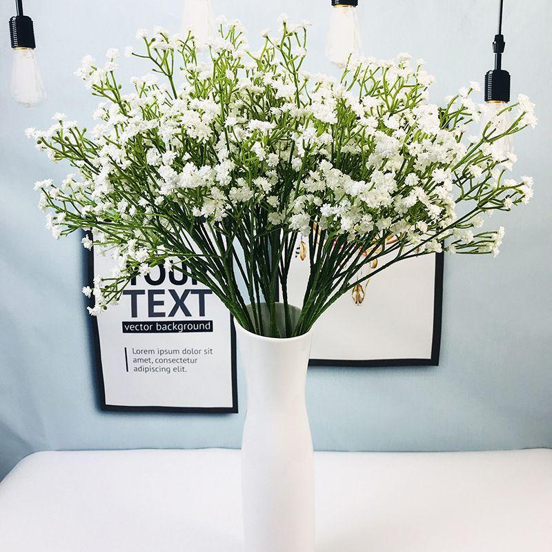 1PCS PU Gypsophila Artificial Flower Handmade Gypsophila Bride Bouquet for Wedding Home Party Decoration DIY Wreath Fake Flower in Artificial Dried Flowers from Home Garden