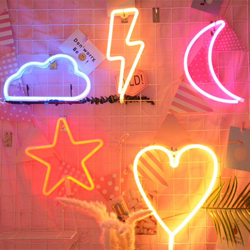 Novelty Creative Neon LED Lamp USB Charging Night Light Christmas Holiday Party Children Decoration Gifts Led Furniture Lighting