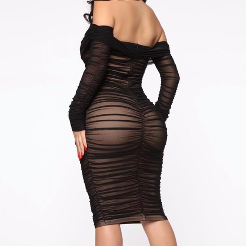 SRUBY Doppel-schicht Sexy Mesh Kleid Partei Weg Von Der Schulter Stilvolle Kleid Girly Geraffte 2020 Frühling Sommer Bodycon Kleider INS