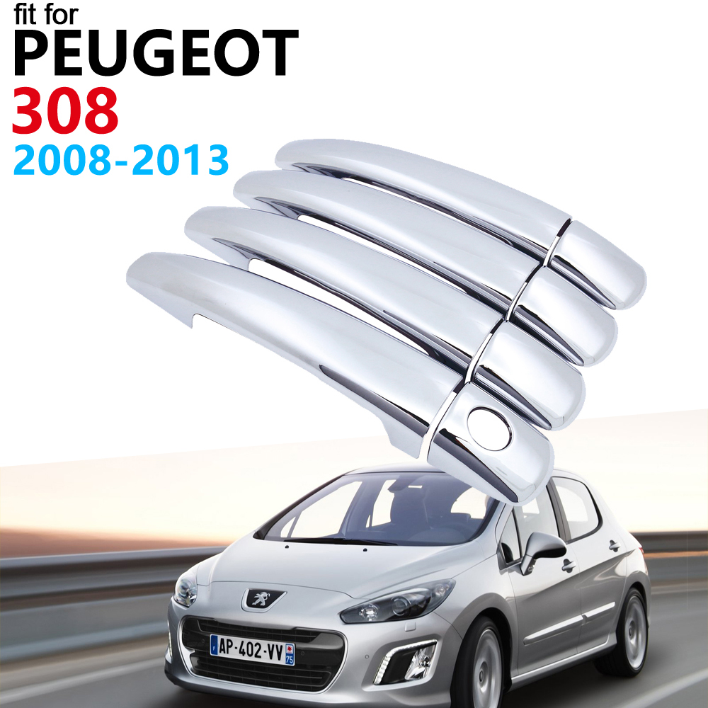 Door Handle <font><b>Car</b></font> <font><b>Accessories</b></font> for <font><b>Peugeot</b></font> <font><b>308</b></font> <font><b>sw</b></font> cc RCZ 2008~2013 T7 Chrome Handle Cover Trim Set <font><b>Car</b></font> Stickers 2012 2011 2010 2009 image