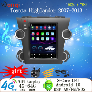 9.7 inch Tesla car android dvd navi multimedia radio player for Toyota Highlander 2007-2013 cd gps video carplay vertical screen