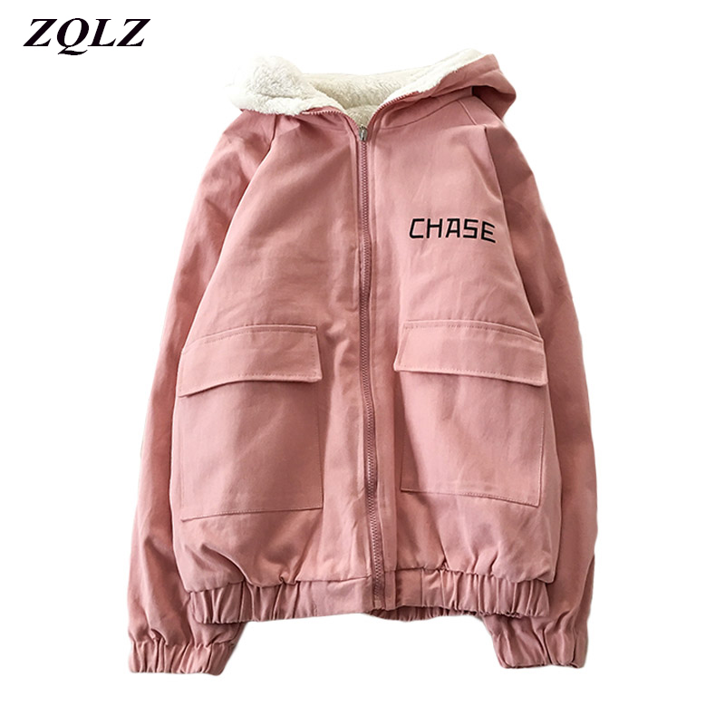 ZQLZ Autumn Winter Hooded Bomber Basic Jacket Women Thick Wool Liner Zip Up Hoodies Jackets For Womens Streetwear Coat Female