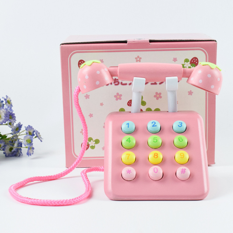 Baby Strawberry Simulation Wooden Phone Toy Children Educational Gift Miniature Telephone Accessories Pretend Play Toys
