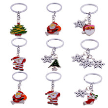 Cute Mini Christmas Tree Snowflake Design Handbag Keychain Key Ring Decor Car Key Chain Souvenir Christmas Gift Key Pendant A30(China)