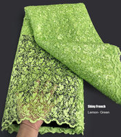 Soft lemon green complicated embroidery African Guipure Lace mix shiny French tulle lace fabric allover small sequins 5 yards