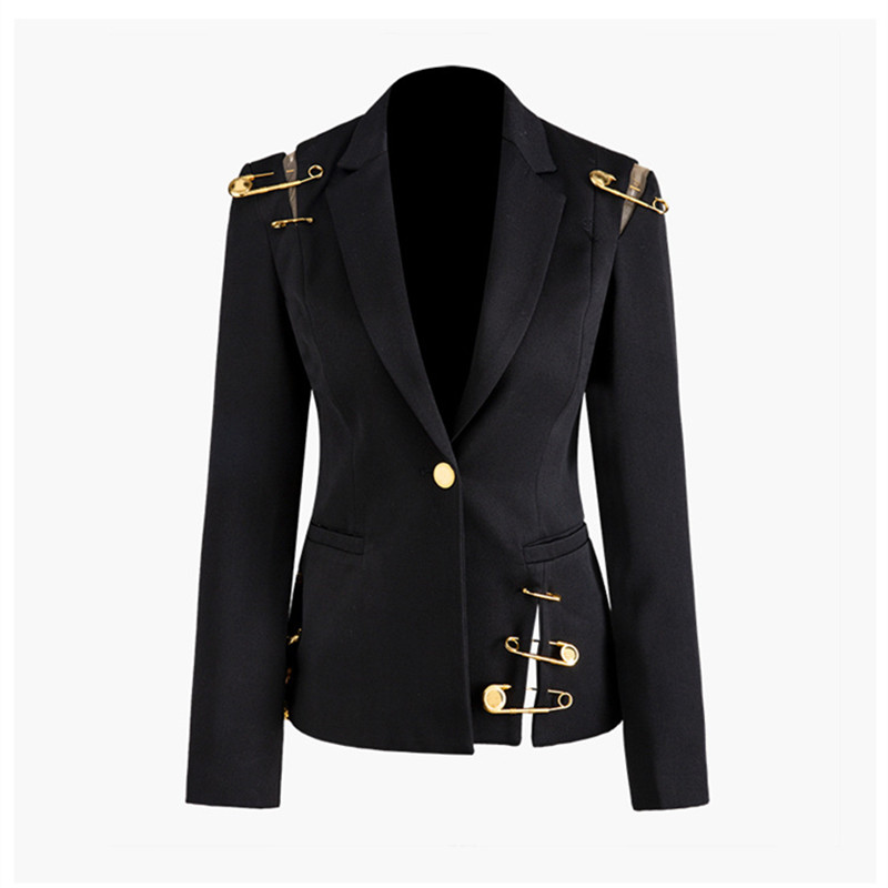 Elegant Patchwork Hollow Mesh Black Blazer Woman Autumn Winter Ladies Office Formal Oversized Jacket Slim Pin Decor Tops Blazer