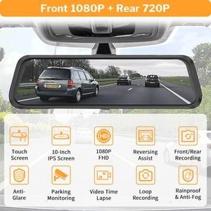 Image 2 - Deelife espelho dvr gravador traço cam 10 full tela cheia hd 1080p câmera espelho retrovisor do carro com retrovisor de vídeo registrador