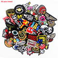 50 Pcs Mixed Cloth Patches Iron on Badges Hippie Embroidered Stickers Stripes Jacket Jeans T-Shirt DIY Applique Wholesale