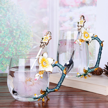 Cerative Enamel Coffee Cup water Mug Flower Tea Glass cup Milk Cups Alloy Handgrip milk Cups and Mugs nice Gift creative enamel stained glass water cup high end flower tea cup heat resistant glass cups european enamel cup couple mug