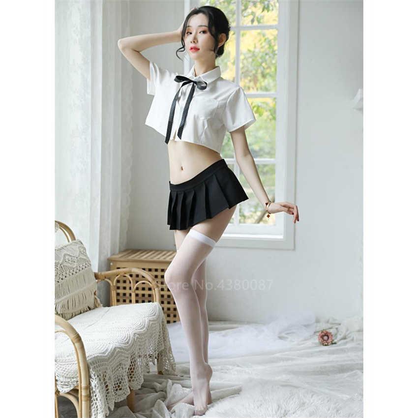Japanse School Uniform Voor Vrouwen Sexy Witte Mini Bow Shirt Blouse Plooirok Set Jk Schoolmeisje Hot Party Perspectief Kostuum