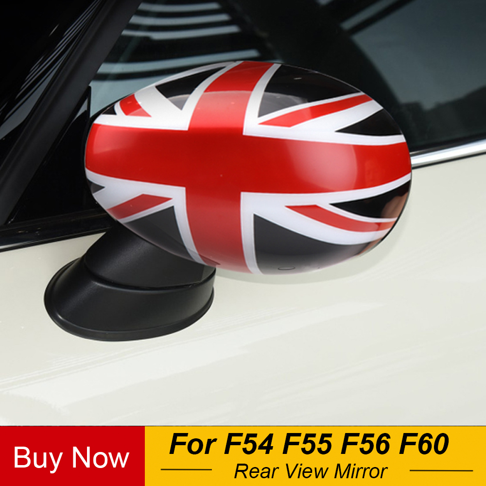 1Pair UNION JACK Rear Mirror Cover Protection Case Shell  For Mini WING R55 R56