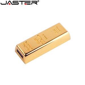 Image 2 - JASTER gold bullion Model USB 2.0 pamięć usb złoty pasek Pen Drive 4GB 8GB 16GB 32GB 64GB metalowy dysk przenośny prezenty