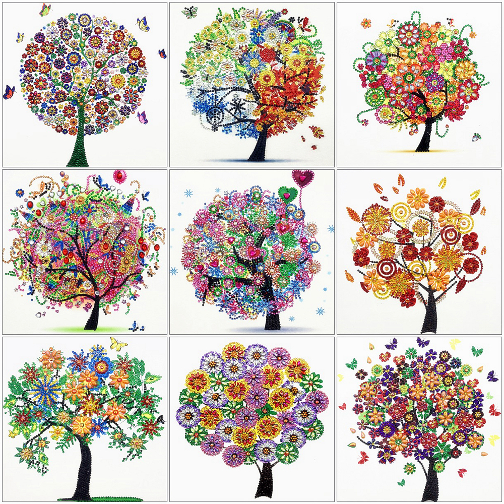 HUACAN 5D Diamond Painting Tree Special Shape Mosaic Rhinestone Crystal Embroidery Cross Stitch Scenic Home Decor 24x24cm