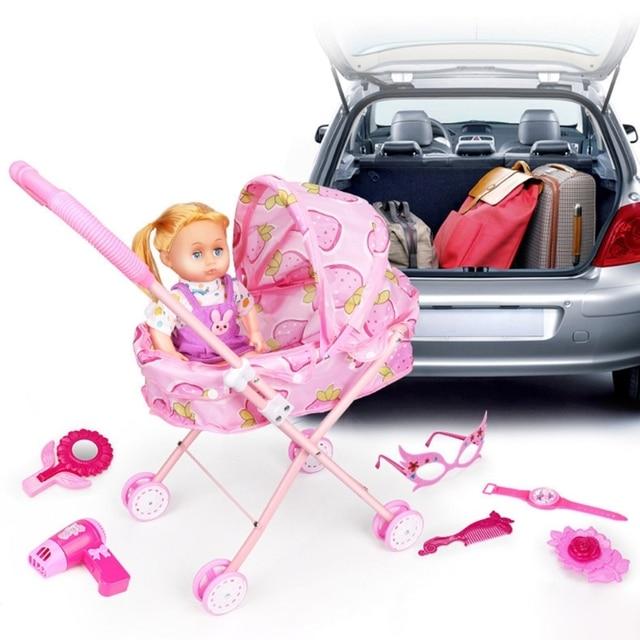Cute Baby Stroller Trolley Doll for Toddler Pretend Play Toy Pram Pushchair Gift A2UB 4