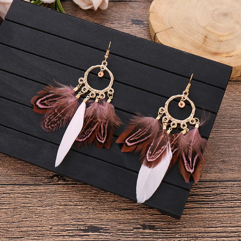 Bohemian Vintage Tassel Earrings 2020 Ethnic Style Luxury Dangle Feather Earrings For Women Boho Jewelry Fashion Gift
