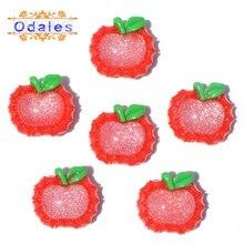 32Pcs/lots 3D Cabochons Red Apple Resin Fruits Accessories Wedding Decoration Cartoon Planar Scrapbooking DIY Ornament