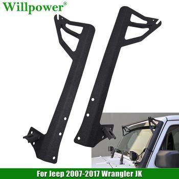 For Jeep Wrangler 2007-2017 JK 2WD 4WD Unlimited Upper Windshield 50 LED Work Light Bar Mounting Bracket Lower Corner Brackets микроприёмник syma s fhss