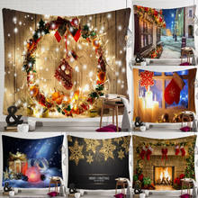 High Quality Christmas Tapestry Hippie Room Bedspread Wall Hanging Blanket Mat Dropshipping Christmas Xams Art(China)