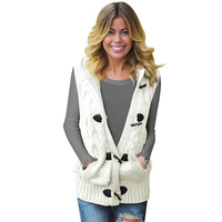 Spring And Autumn New Sweater Vest Women's Loose Short Hooded Sweater Vest Coat Sleeveless Large Cardigan